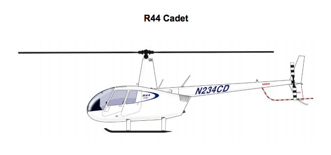 Robinson R44 Cadet helicopter drawing